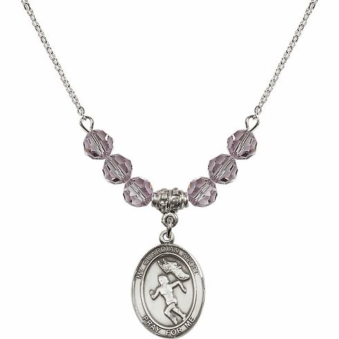 Guardian Angel Girl's Track/Field June Lt Amethyst Crystal Beaded Necklace by Bliss Mfg