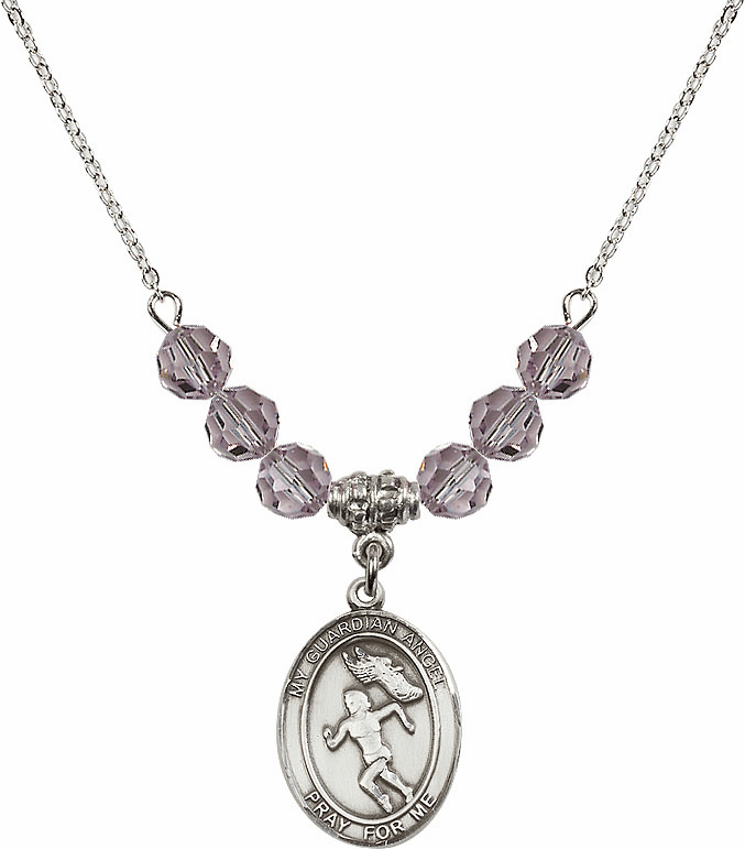 Sterling Silver Guardian Angel Girl's Track and Field Sterling June Lt Amethyst Swarovski Crystal Beaded Necklace by Bliss Mfg