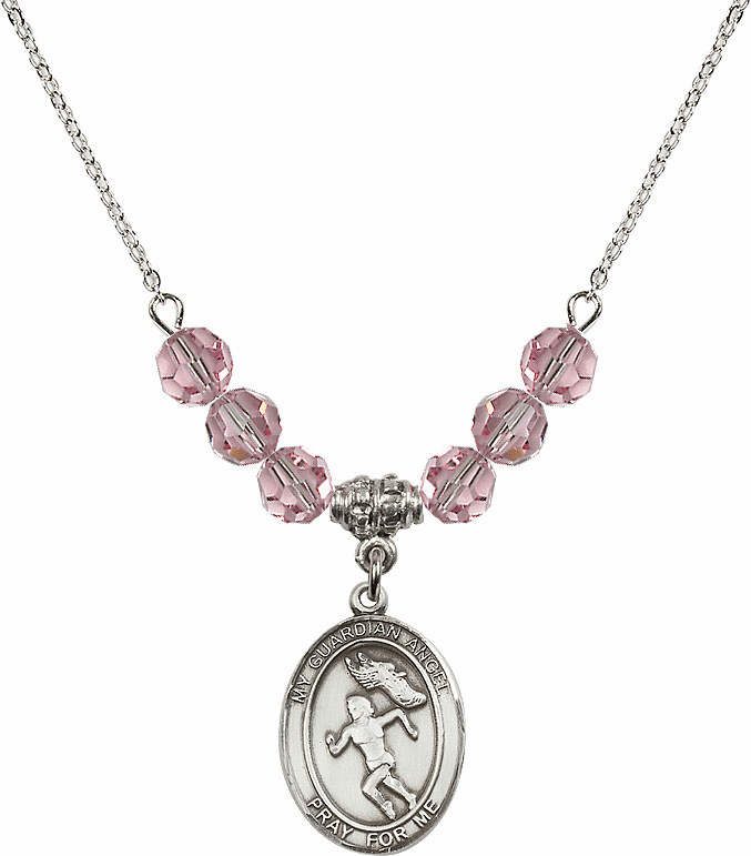 Guardian Angel Girl's Track and Field Sterling Lt Rose Swarovski Crystal Beaded Necklace by Bliss Mfg