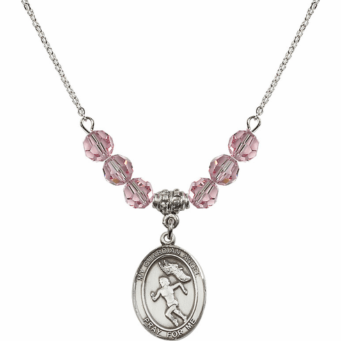 Guardian Angel Girl's Track/Field Lt Rose Swarovski Crystal Beaded Necklace by Bliss Mfg