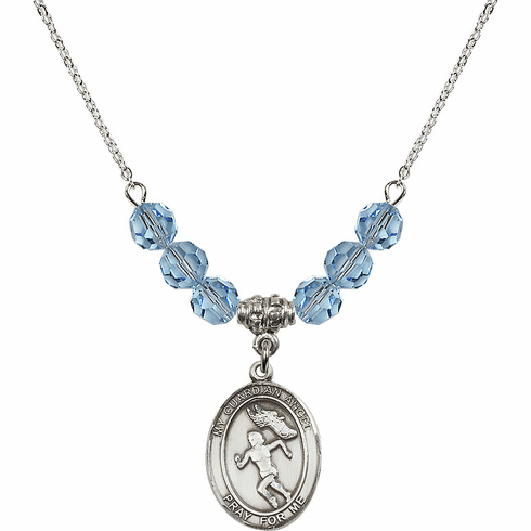 Guardian Angel Girl's Track/Field March Aqua Crystal Beaded Necklace by Bliss Mfg