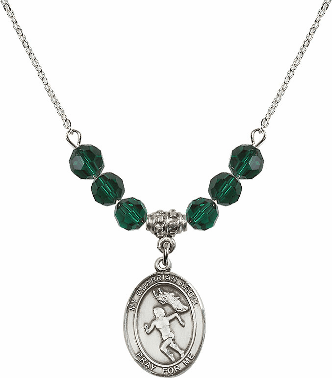 Guardian Angel Girl's Track and Field Sterling May Emerald Swarovski Crystal Beaded Necklace by Bliss Mfg