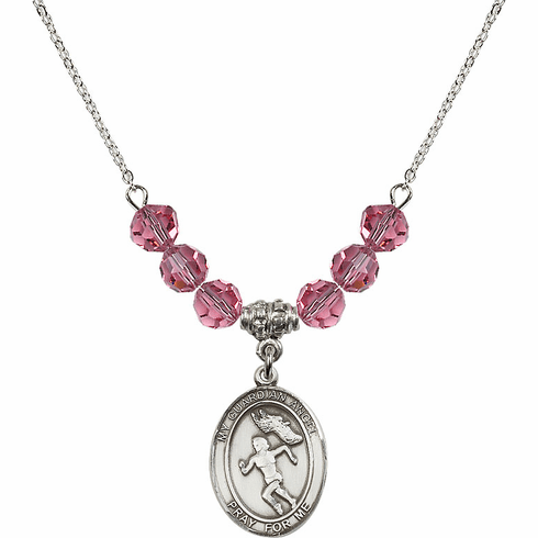 Guardian Angel Girl's Track/Field October Rose Crystal Beaded Necklace by Bliss Mfg
