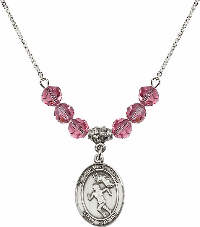 Sterling Silver Guardian Angel Girl's Track and Field Sterling October Rose Swarovski Crystal Beaded Necklace by Bliss Mfg