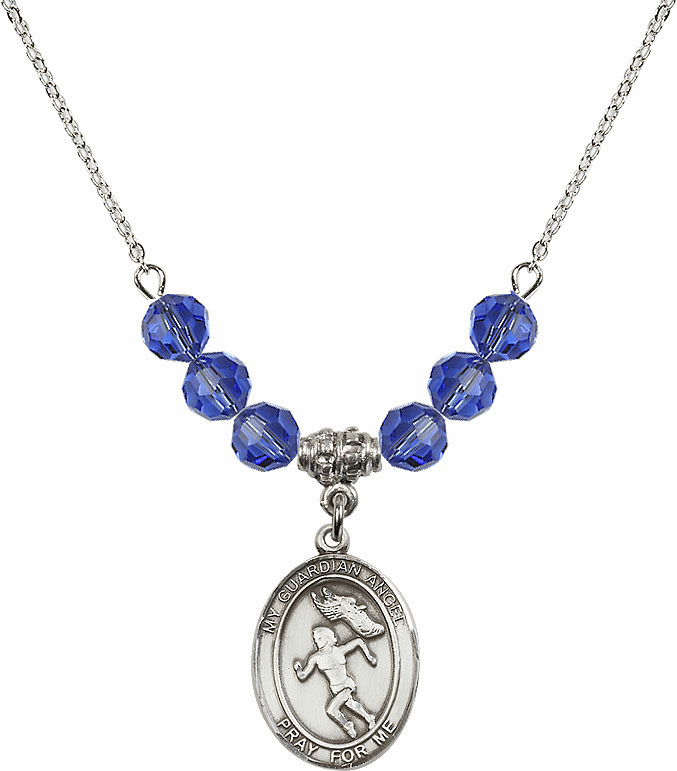 Sterling Silver Guardian Angel Girl's Track and Field Sterling September Sapphire Swarovski Crystal Beaded Necklace by Bliss Mfg