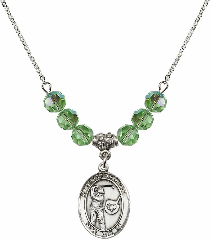 Guardian Angel Golf Sterling August Peridot Swarovski Crystal Beaded Necklace by Bliss Mfg