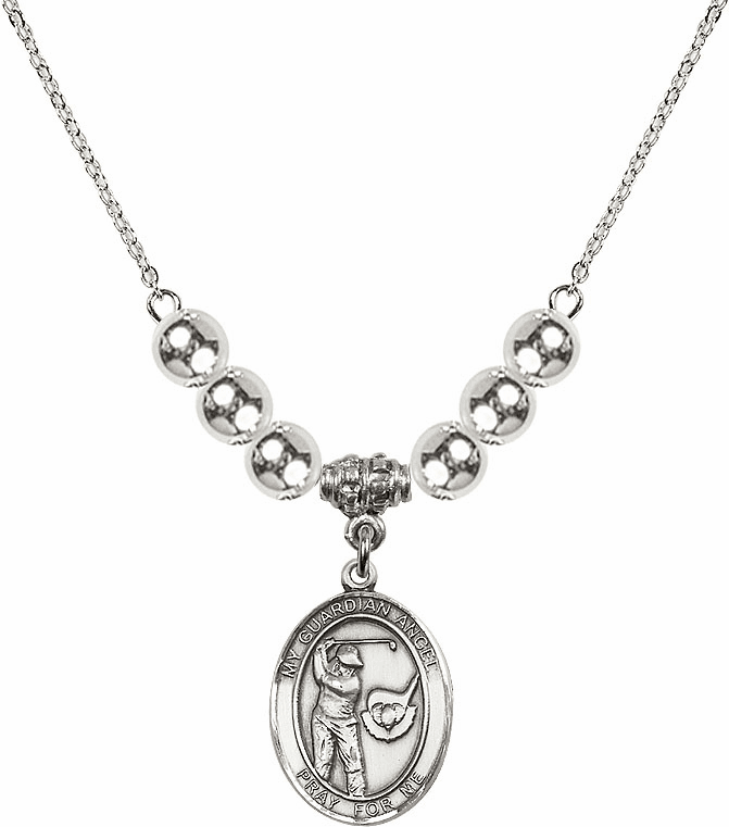 Guardian Angel Golf Sterling Charm w/Silver Beads Necklace by Bliss Mfg
