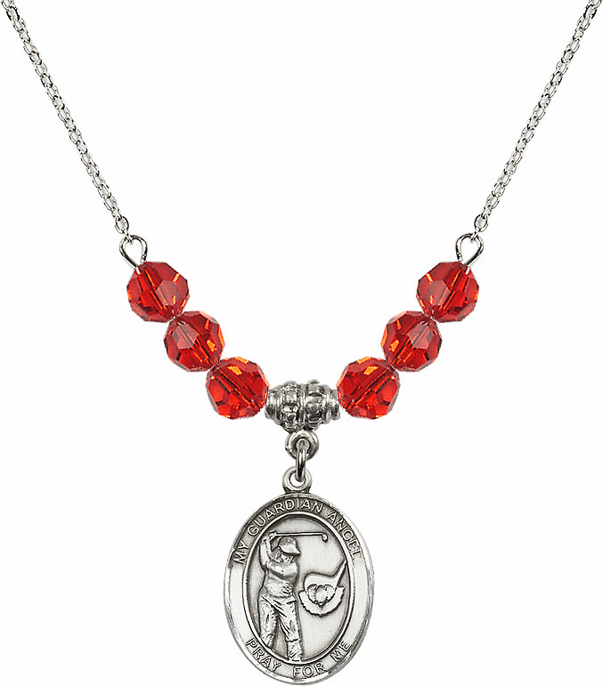 Guardian Angel Golf Sterling July Ruby Swarovski Crystal Beaded Necklace by Bliss Mfg