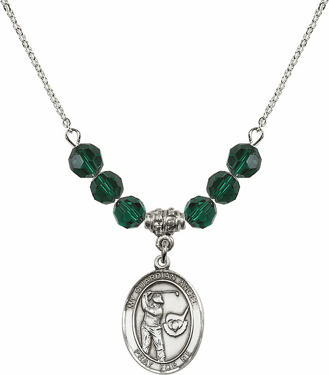 Guardian Angel Golf Sterling May Emerald Swarovski Crystal Beaded Necklace by Bliss Mfg