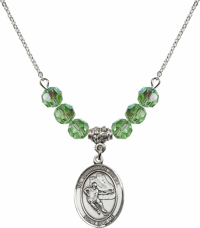 Sterling Silver Guardian Angel Ice Hockey Sterling August Peridot Swarovski Crystal Beaded Necklace by Bliss Mfg