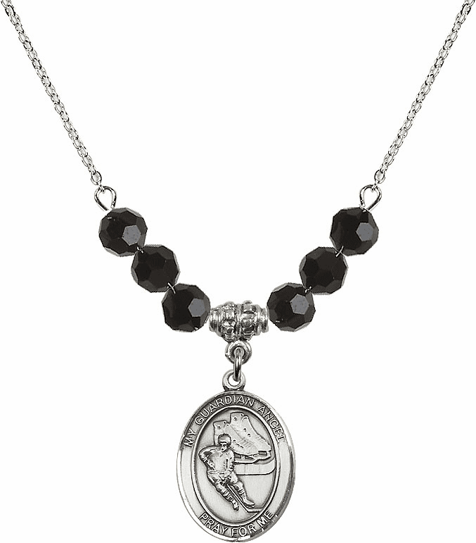Guardian Angel Ice Hockey Sterling Black Jet Swarovski Crystal Beaded Necklace by Bliss Mfg