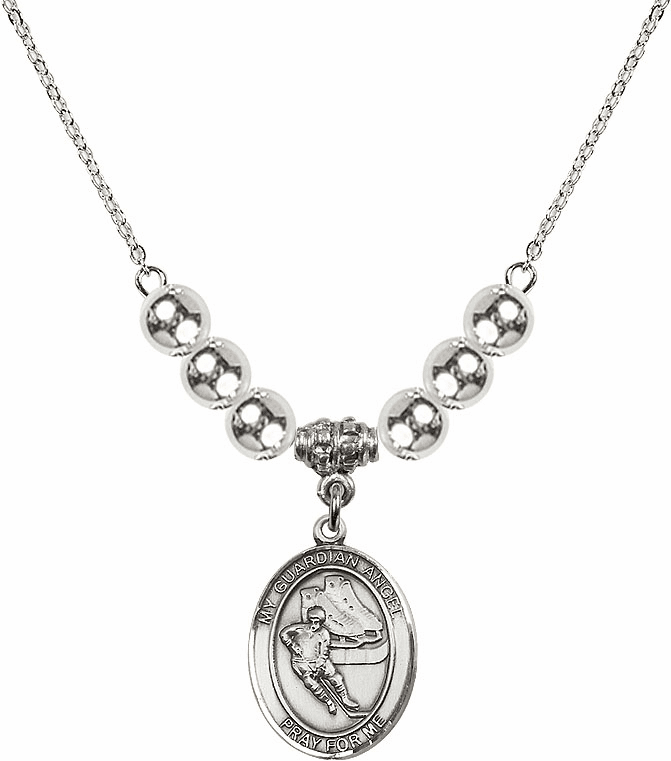 Sterling Silver Guardian Angel Ice Hockey Sterling Charm w/Silver Beads Necklace by Bliss Mfg