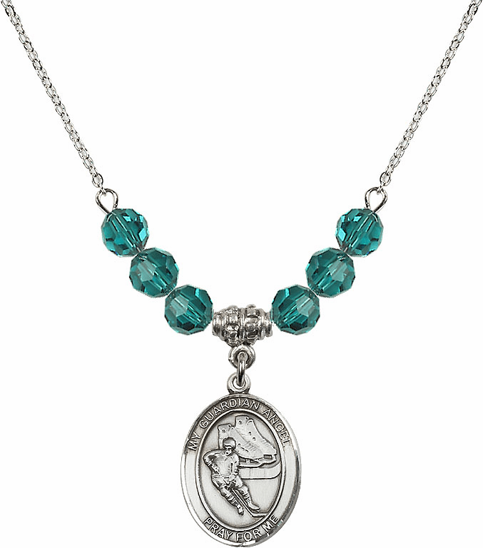 Guardian Angel Ice Hockey Sterling December Zircon Swarovski Crystal Beaded Necklace by Bliss Mfg