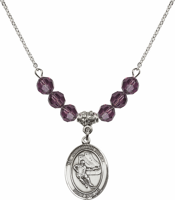 Guardian Angel Ice Hockey Sterling February Amethyst Swarovski Crystal Beaded Necklace by Bliss Mfg