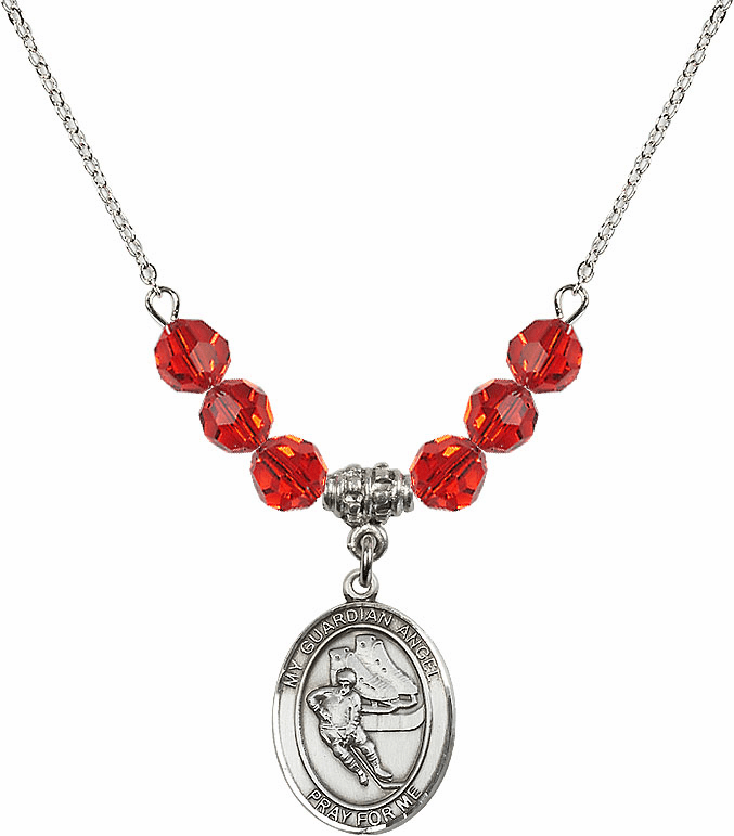 Sterling Silver Guardian Angel Ice Hockey Sterling July Ruby Swarovski Crystal Beaded Necklace by Bliss Mfg