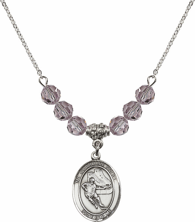 Guardian Angel Ice Hockey Sterling June Lt Amethyst Swarovski Crystal Beaded Necklace by Bliss Mfg