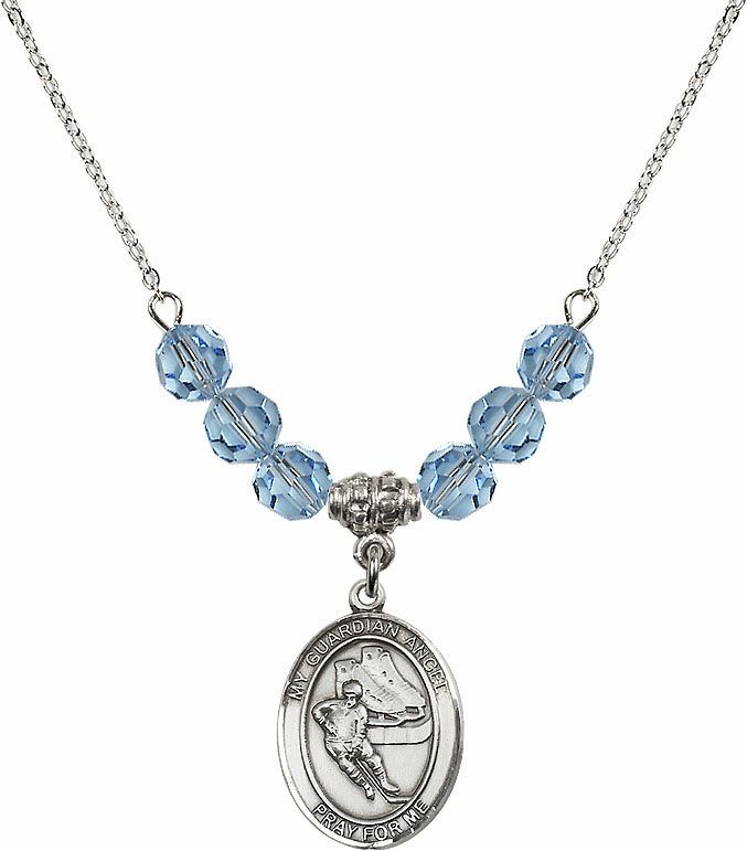 Sterling Silver Guardian Angel Ice Hockey Sterling March Aqua Swarovski Crystal Beaded Necklace by Bliss Mfg