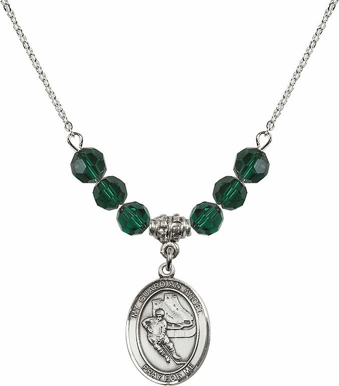 Sterling Silver Guardian Angel Ice Hockey Sterling May Emerald Swarovski Crystal Beaded Necklace by Bliss Mfg