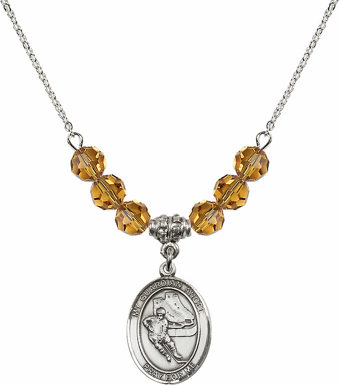 Guardian Angel Ice Hockey Sterling November Topaz Swarovski Crystal Beaded Necklace by Bliss Mfg