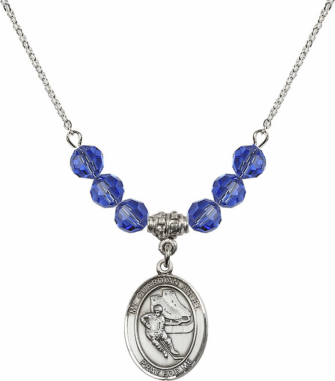Sterling Silver Guardian Angel Ice Hockey Sterling September Sapphire Swarovski Crystal Beaded Necklace by Bliss Mfg
