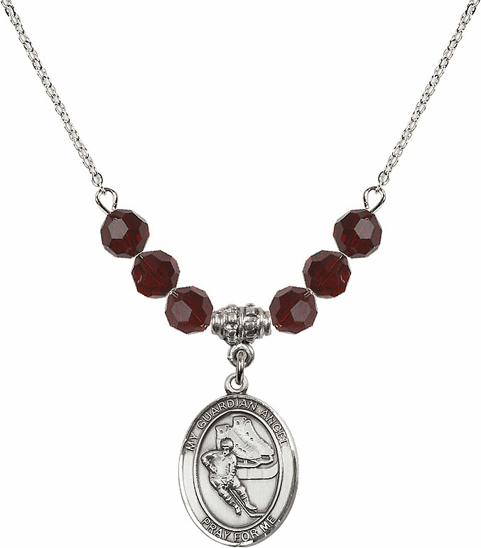 Sterling Silver Guardian Angel Ice Hockey Swarovski Crystal Beaded Necklace by Bliss Mfg