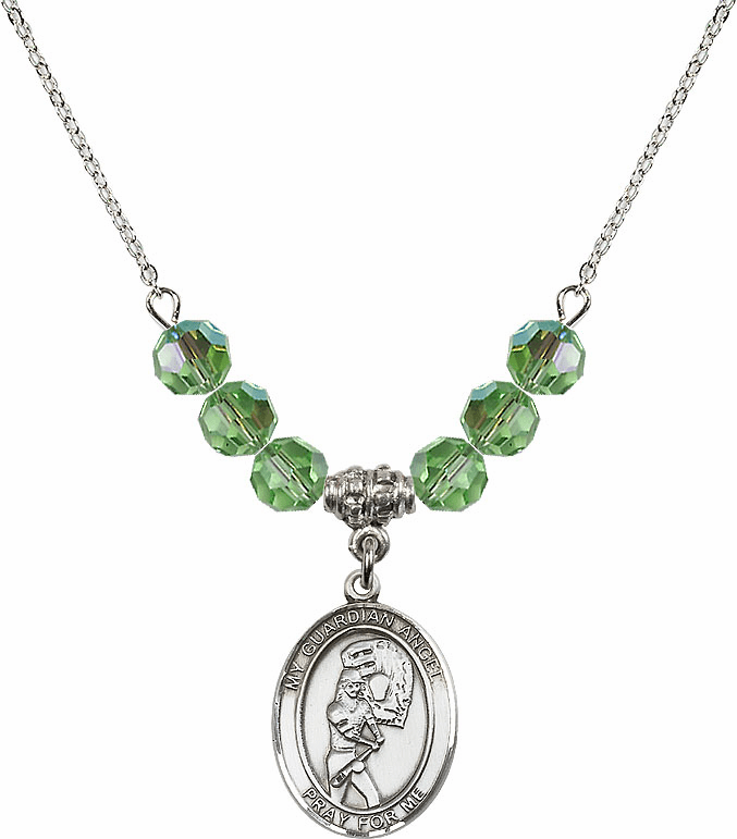 Sterling Silver Guardian Angel Softball Sterling August Peridot Swarovski Crystal Beaded Necklace by Bliss Mfg