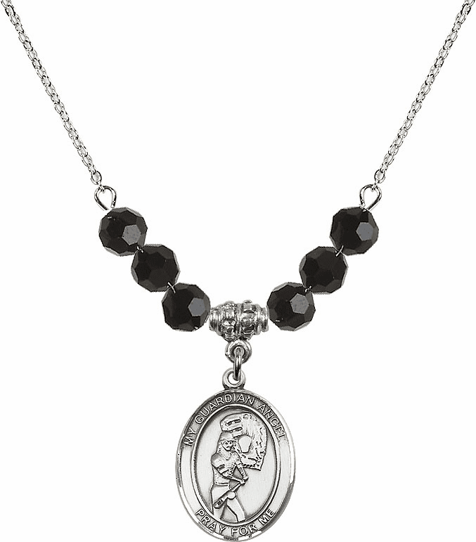 Sterling Silver Guardian Angel Softball Sterling Black Jet Swarovski Crystal Beaded Necklace by Bliss Mfg