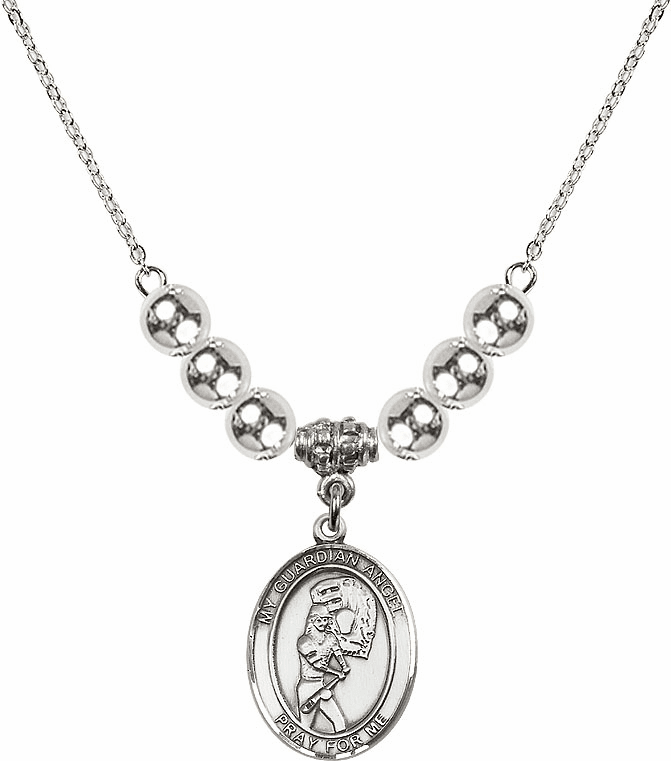 Sterling Silver Guardian Angel Softball Sterling Charm w/Silver Beads Necklace by Bliss Mfg