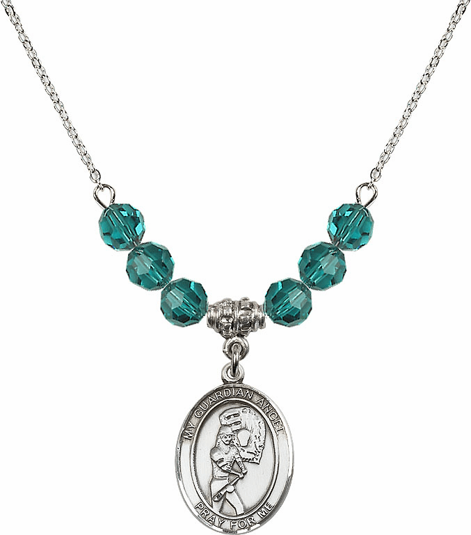 Sterling Silver Guardian Angel Softball Sterling December Zircon Swarovski Crystal Beaded Necklace by Bliss Mfg