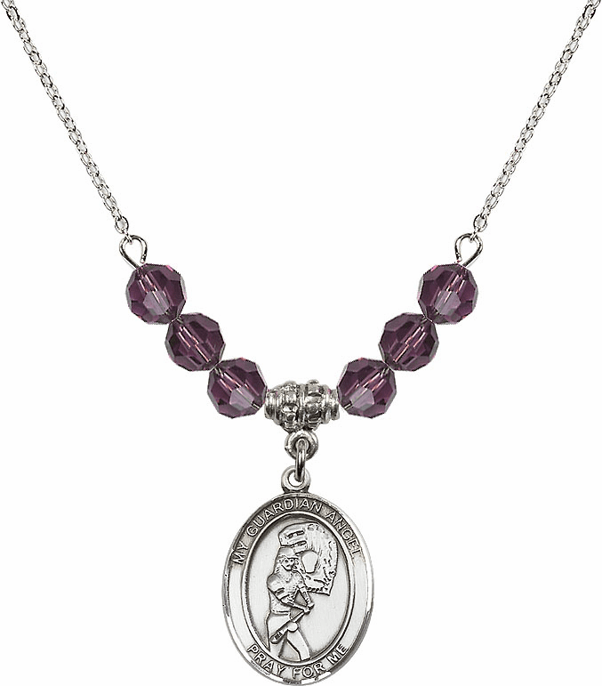 Sterling Silver Guardian Angel Softball Sterling February Amethyst Swarovski Crystal Beaded Necklace by Bliss Mfg