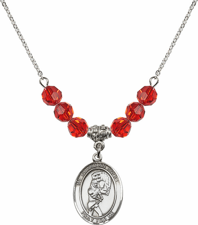 Sterling Silver Guardian Angel Softball Sterling July Ruby Swarovski Crystal Beaded Necklace by Bliss Mfg