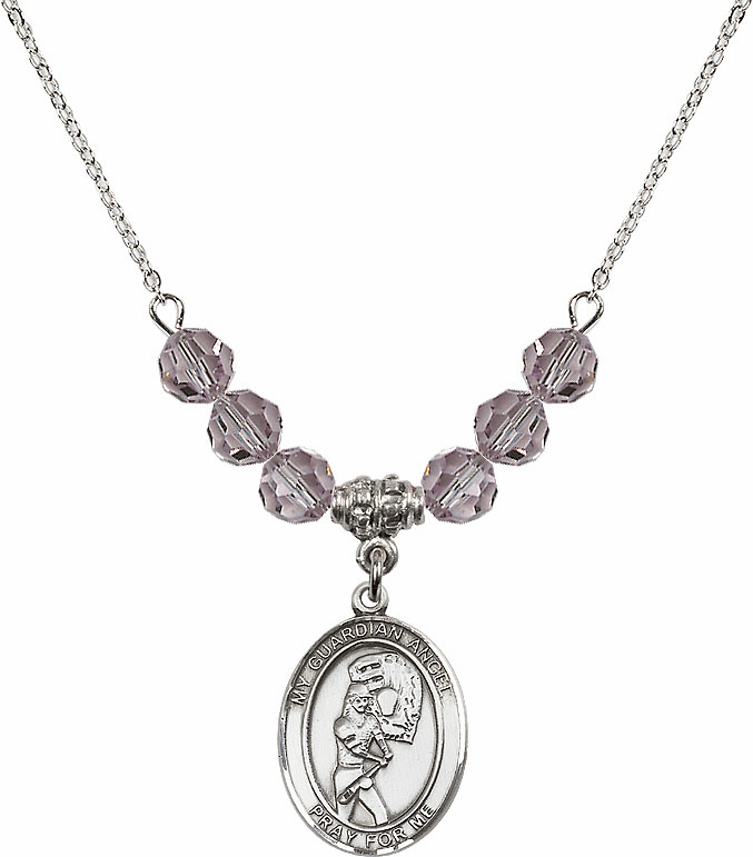 Sterling Silver Guardian Angel Softball Sterling June Lt Amethyst Swarovski Crystal Beaded Necklace by Bliss Mfg