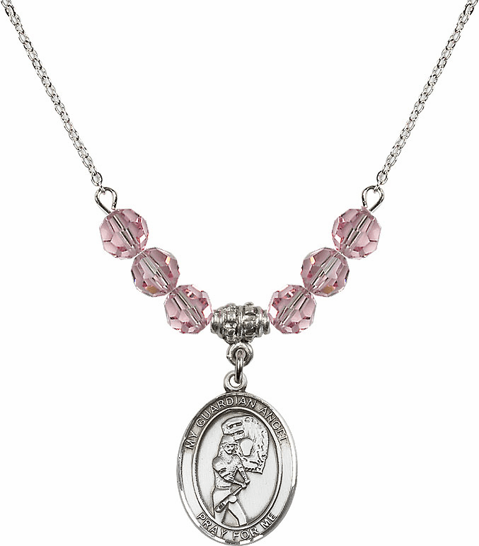 Sterling Silver Guardian Angel Softball Sterling Lt Rose Swarovski Crystal Beaded Necklace by Bliss Mfg