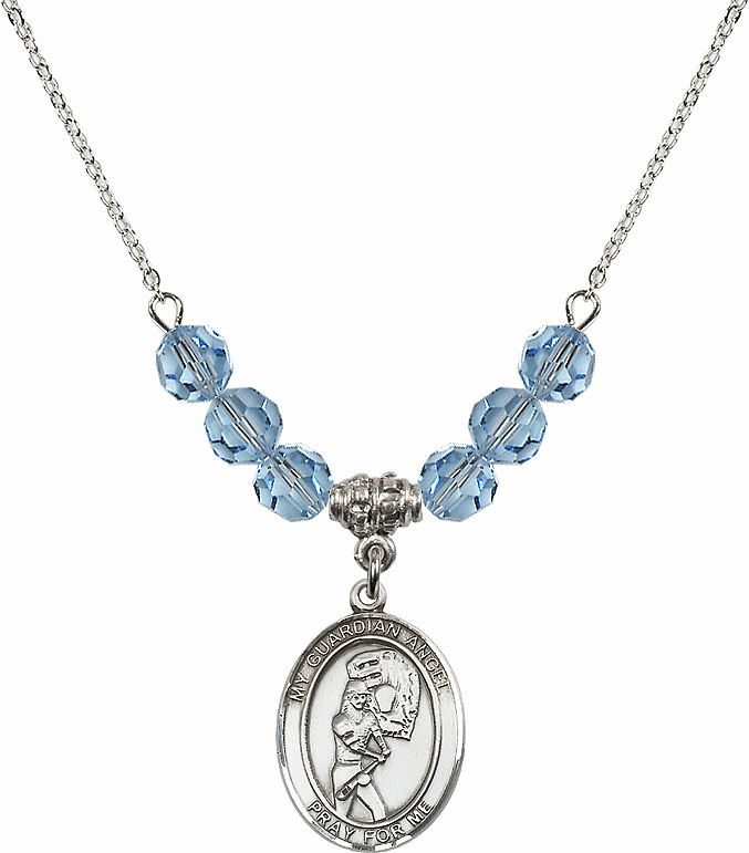 Sterling Silver Guardian Angel Softball Sterling March Aqua Swarovski Crystal Beaded Necklace by Bliss Mfg