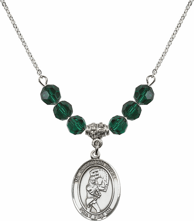 Sterling Silver Guardian Angel Softball Sterling May Emerald Swarovski Crystal Beaded Necklace by Bliss Mfg