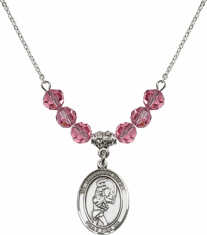 Sterling Silver Guardian Angel Softball Sterling October Rose Swarovski Crystal Beaded Necklace by Bliss Mfg