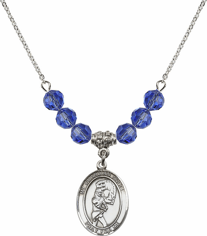 Sterling Silver Guardian Angel Softball Sterling September Sapphire Swarovski Crystal Beaded Necklace by Bliss Mfg