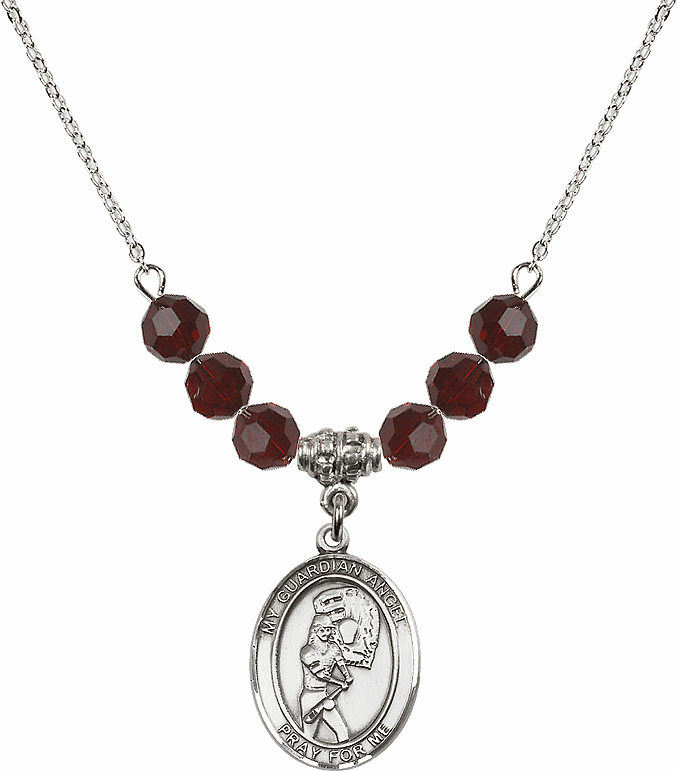 Sterling Silver Guardian Angel Softball Swarovski Crystal Beaded Necklace by Bliss Mfg