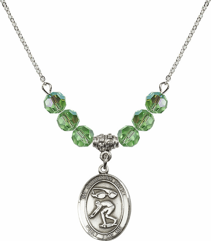 Sterling Silver Guardian Angel Swimming Sterling August Peridot Swarovski Crystal Beaded Necklace by Bliss Mfg