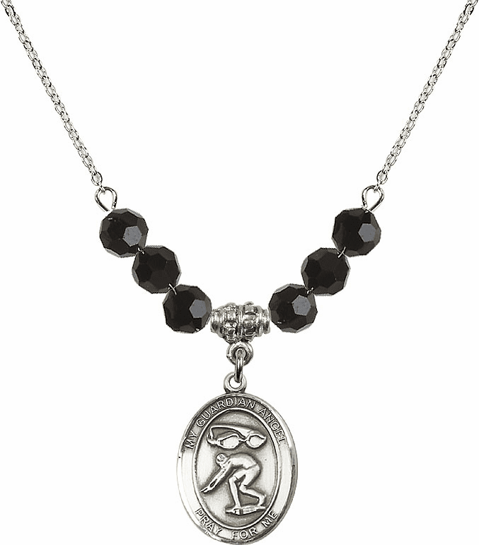 Sterling Silver Guardian Angel Swimming Sterling Black Jet Swarovski Crystal Beaded Necklace by Bliss Mfg