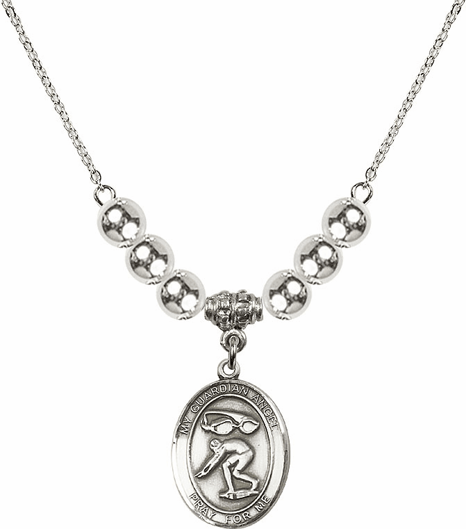 Sterling Silver Guardian Angel Swimming Sterling Charm w/Silver Beads Necklace by Bliss Mfg