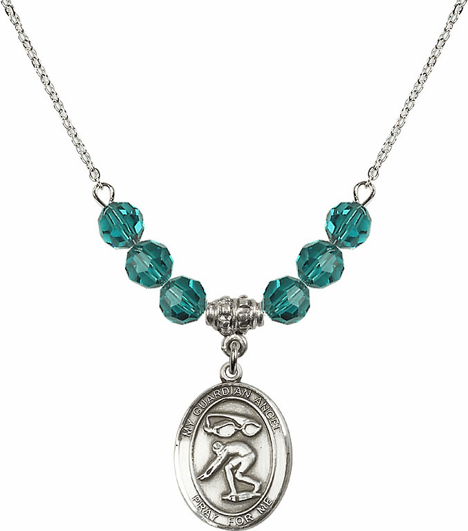 Guardian Angel Swimming Sterling December Zircon Swarovski Crystal Beaded Necklace by Bliss Mfg