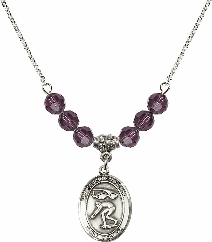 Sterling Silver Guardian Angel Swimming Sterling February Amethyst Swarovski Crystal Beaded Necklace by Bliss Mfg