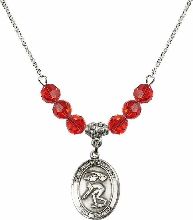 Sterling Silver Guardian Angel Swimming Sterling July Ruby Swarovski Crystal Beaded Necklace by Bliss Mfg
