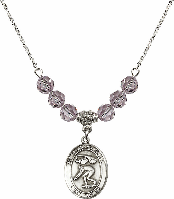 Guardian Angel Swimming Sterling June Lt Amethyst Swarovski Crystal Beaded Necklace by Bliss Mfg