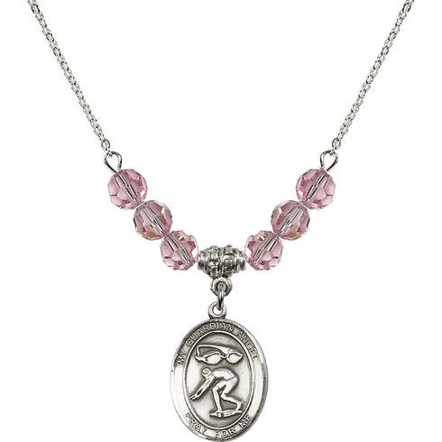 Guardian Angel Swimming Sterling Lt Rose Swarovski Crystal Beaded Necklace by Bliss Mfg