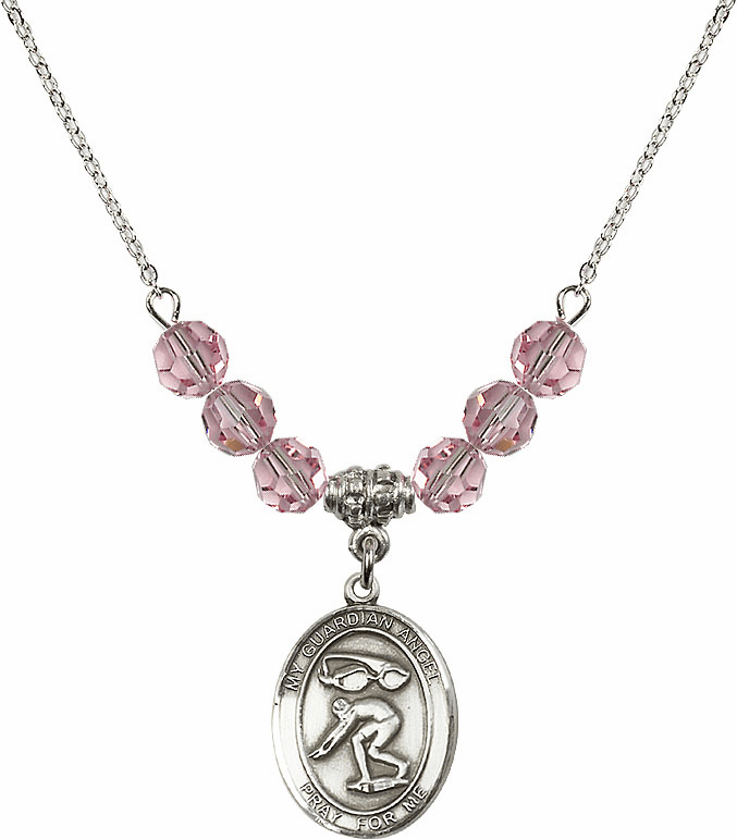 Sterling Silver Guardian Angel Swimming Sterling Lt Rose Swarovski Crystal Beaded Necklace by Bliss Mfg