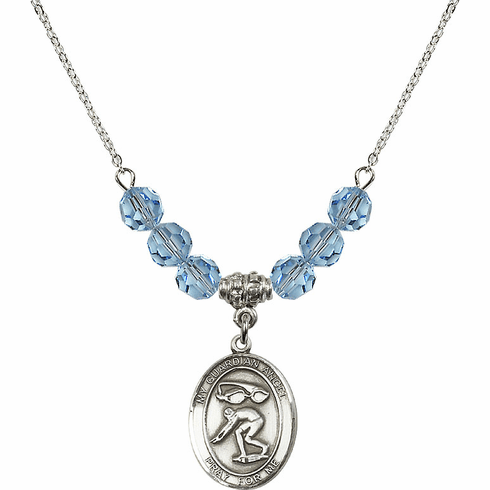 Guardian Angel Swimming Sterling March Aqua Swarovski Crystal Beaded Necklace by Bliss Mfg