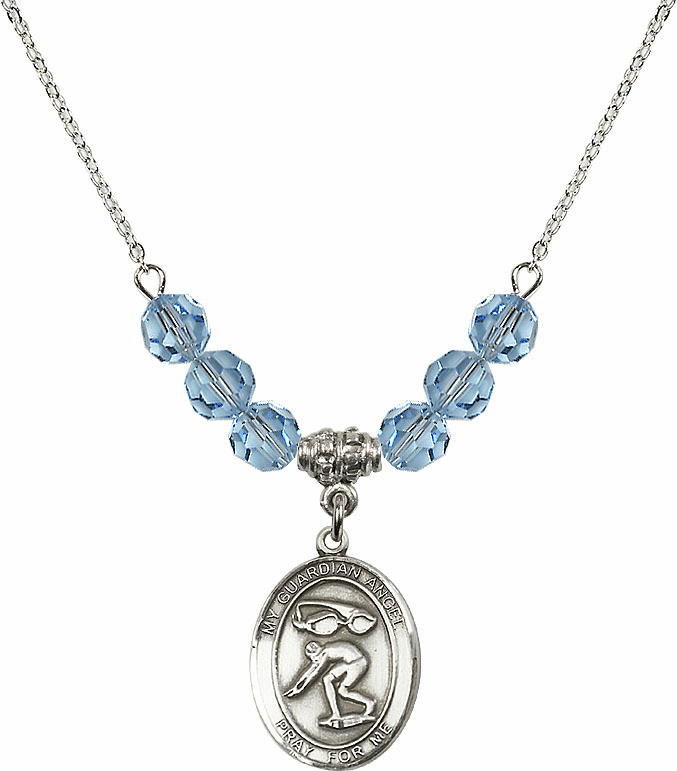 Sterling Silver Guardian Angel Swimming Sterling March Aqua Swarovski Crystal Beaded Necklace by Bliss Mfg