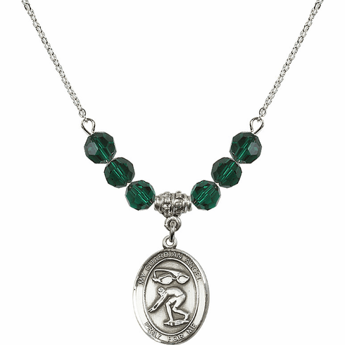 Guardian Angel Swimming Sterling May Emerald Swarovski Crystal Beaded Necklace by Bliss Mfg